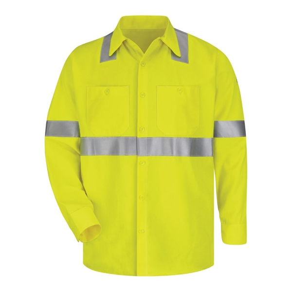 Bulwark High Visibility Long Sleeve Work Shirt Long Sizes