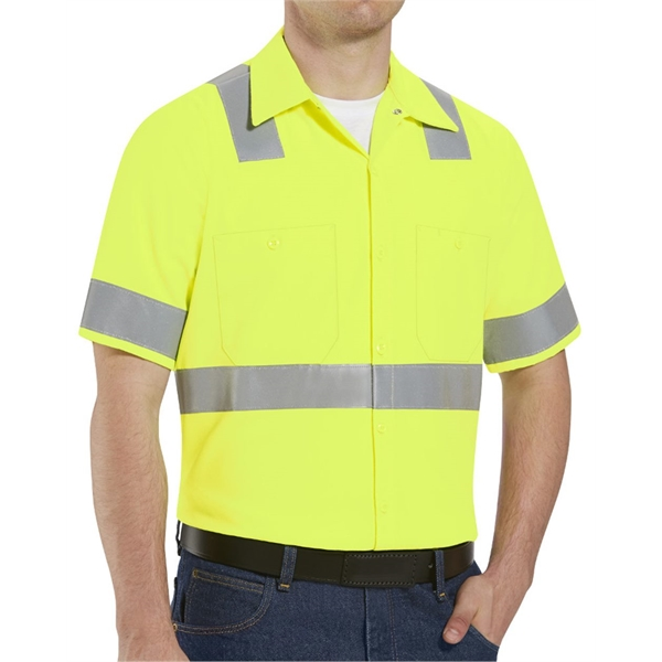 Red Kap High Visibility Safety Short Sleeve Work Shirt Ta...