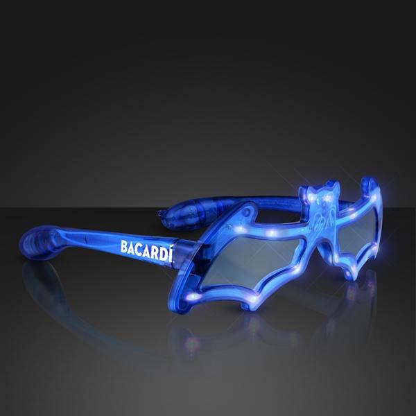 Blue LED Bat Shaped Flashing Sunglasses