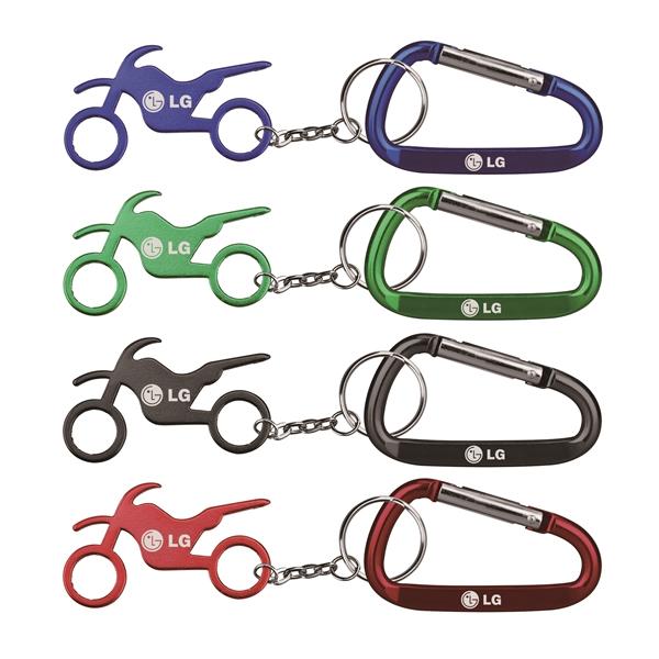 Motorbike Shape Bottle Opener Key Chain & Carabineer