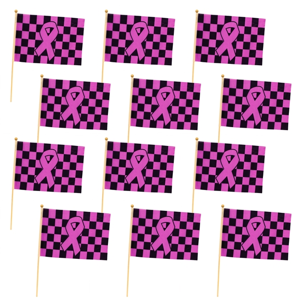 "Pink Ribbon Checkered Flag 12"" x 18"""