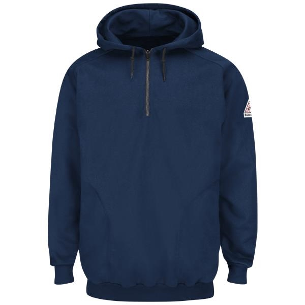 Bulwark Flame Resistant Hooded Fleece Sweatshirt w 1/4 zip