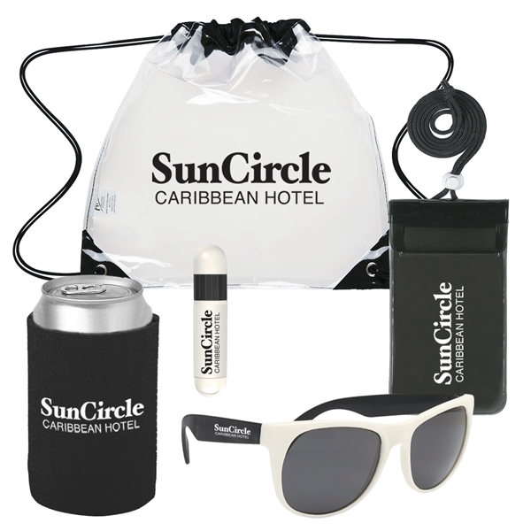 Deluxe Fun in the Sun Kit - Waterproof pouch, sunscreen stick, beverage holder and sunglasses