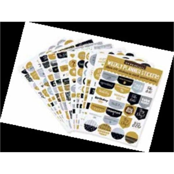 Essentials Weekly Planner Stickers - Black & Gold