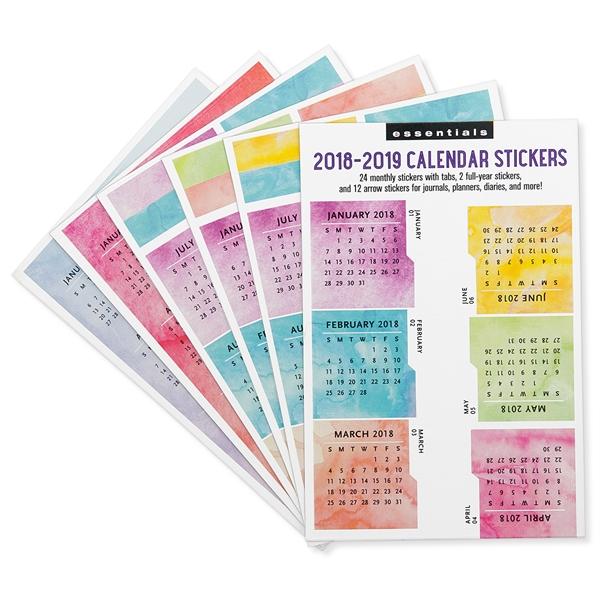 Multicolored 2018-2019 Calendar Stickers