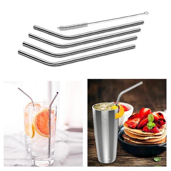 Stainless Steel Drinking Curved Straws Set of 4