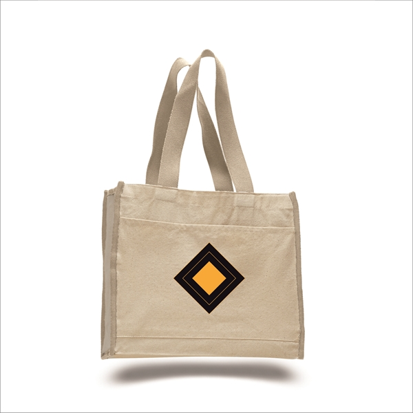 Canvas Gusset Tote Bag with color handle