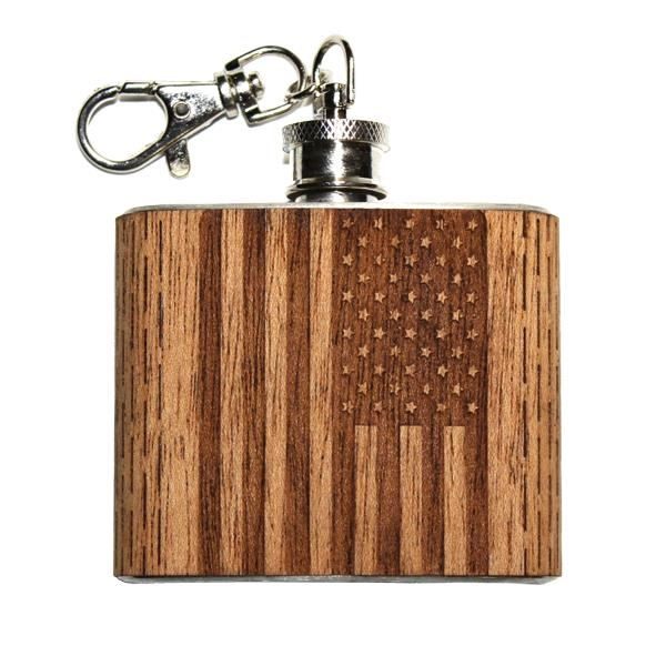 Wooden Keychain Flask 2 oz