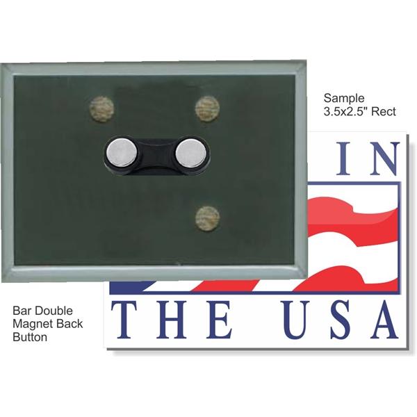 Bar Double Magnet 3 1/2 Inch X 2 1/2 Inch Rectangular Button