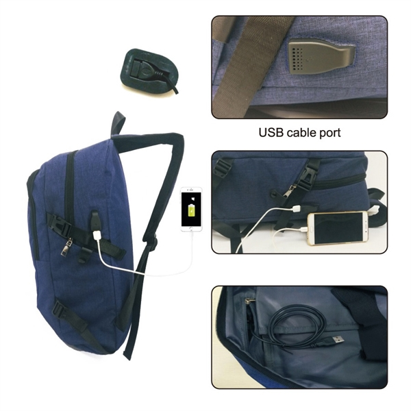 Waterproof Laptop Backpack with Built-in Charge Cable