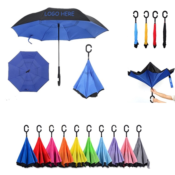 Promotional C handle reverse inverted umbrella upside down