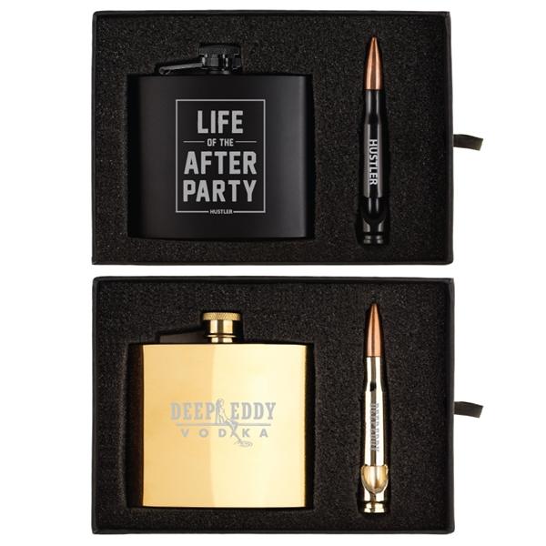 Tactical 5 oz. Flask and Bullet Bottle Opener Gift Set