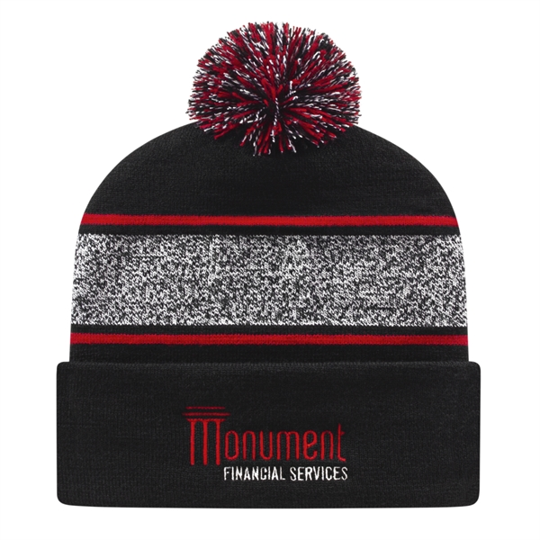 Variegated Striped Knit Cap with Cuff