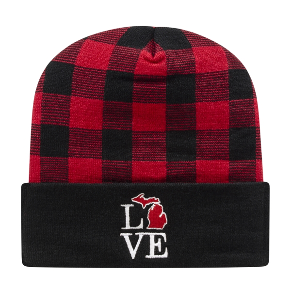 Plaid Knit Cap with Cuff