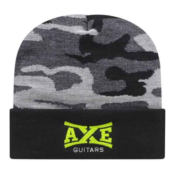 Urban Camo Knit Cap with Cuff
