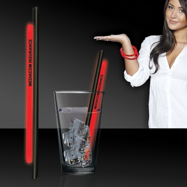 "Red 9"" Light Up Glow Straw"