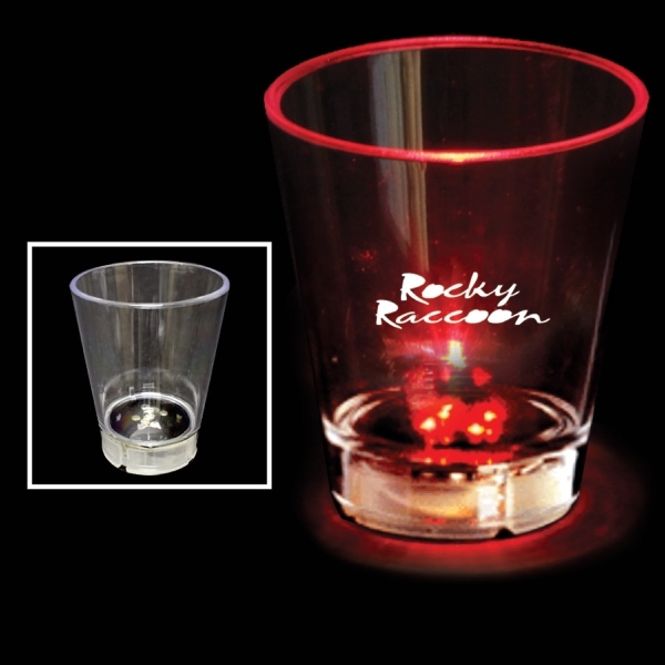 2 oz. Acrylic Red Dice LED Light Up Glow  Shot Glass