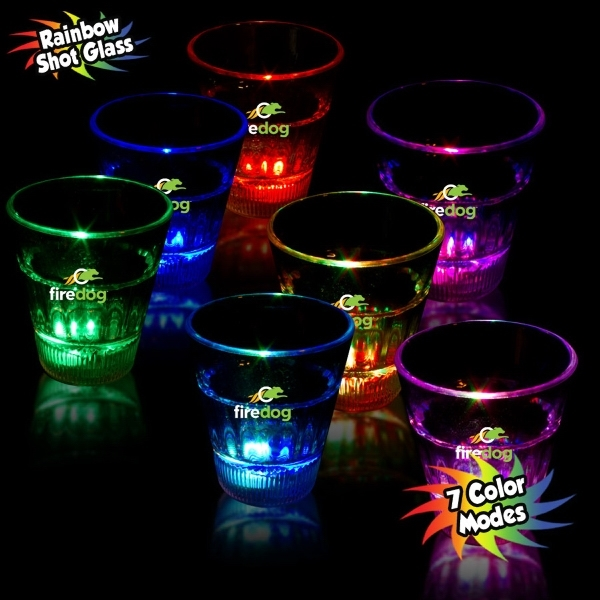 2 oz. Rainbow Light-Up LED Glow Shot Glass