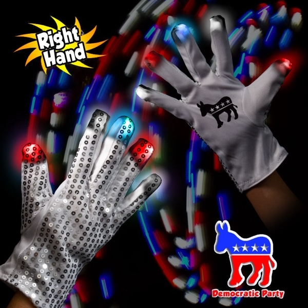 Democratic LED Light Up Glow Sequin Glove