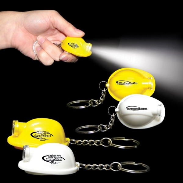 Safety Helmet LED Light Up Flashlight Keychain