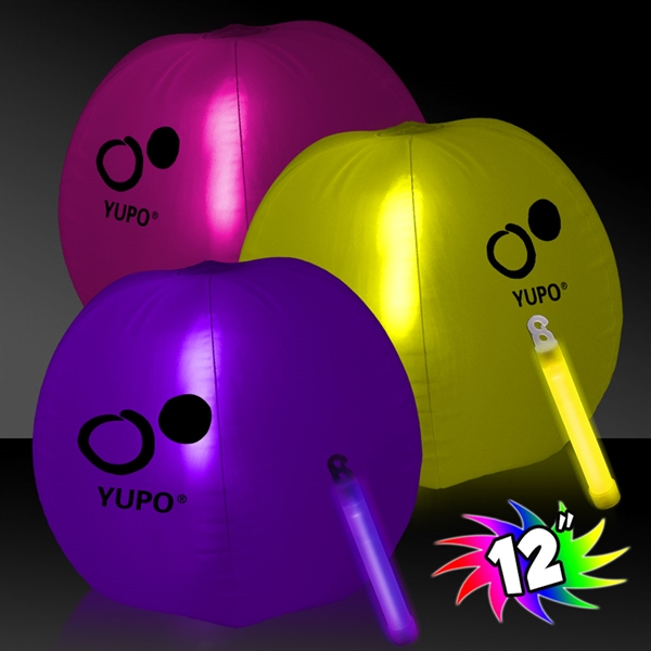 "12"" Translucent Beach Ball with Glow light Stick"