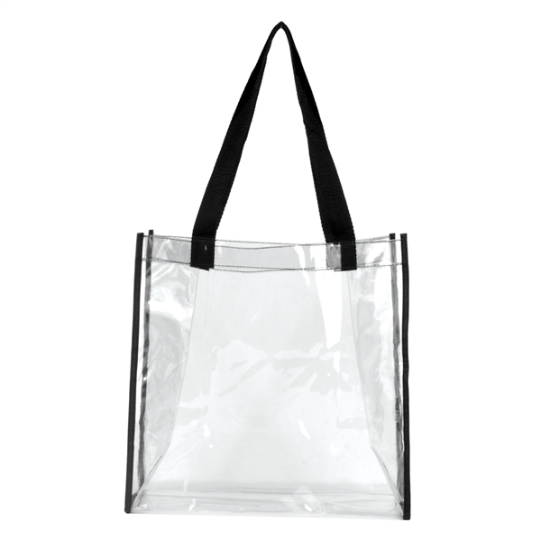 "Matterhorn Clear Vinyl Stadium Compliant Tote Bag - Clear PVC Stadium Tote Bag 6"" gusset and 20"" long handles that make it easy to carry with you all day!"