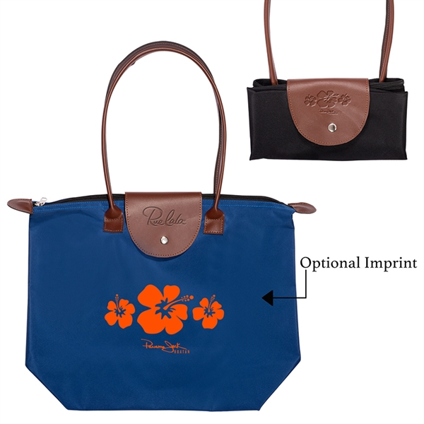 Folding Tote with Leather Flap Closure
