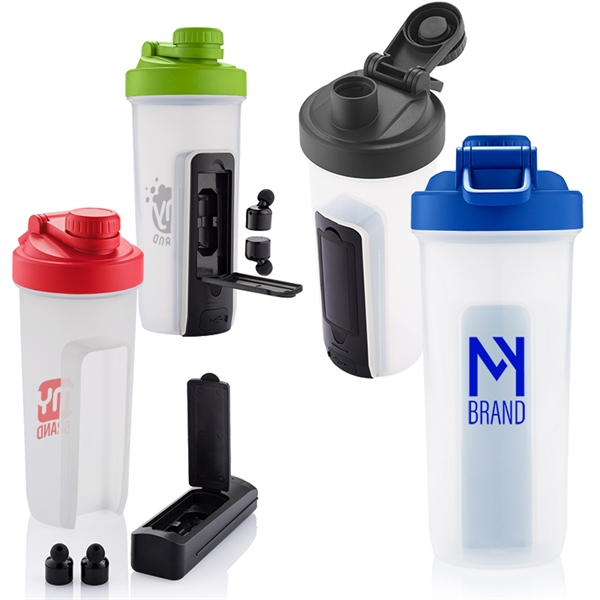 20 oz. Shaker Fitness Bottle with Wireless Earbuds