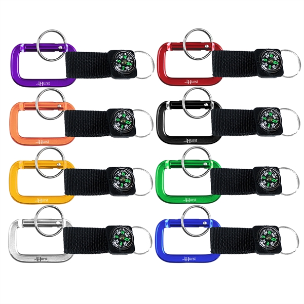 Carabiner with Strap and Compass