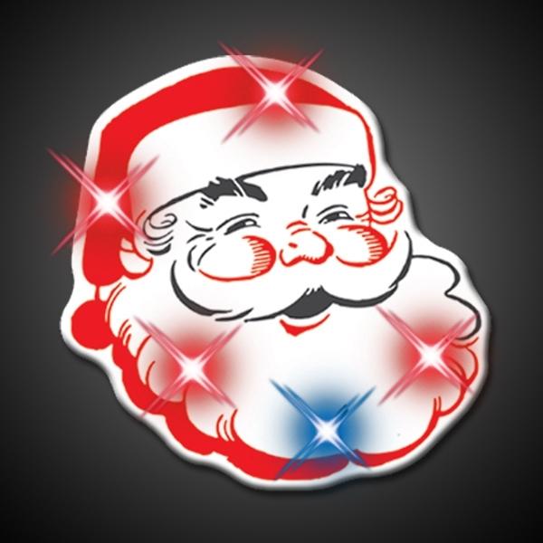 Light Up Flashing Classic Santa LED Pin