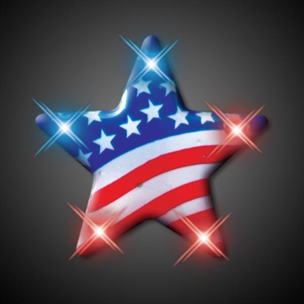 USA American Flag Star Flashing Pin