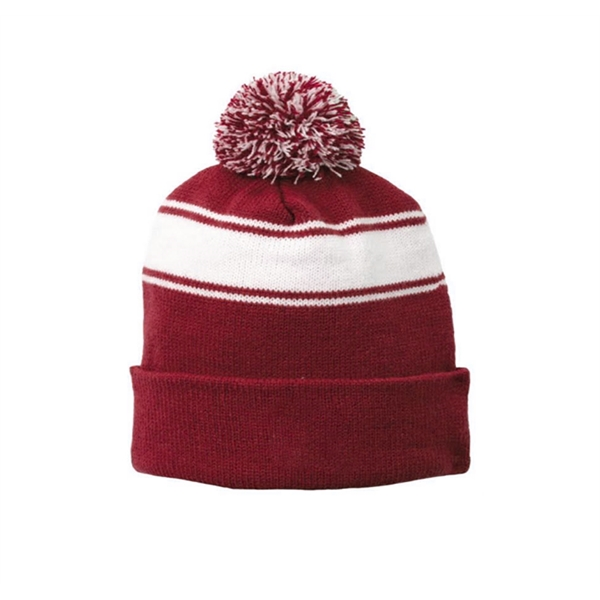 Winter Knitted Cuffed Beanie Hats with Pom