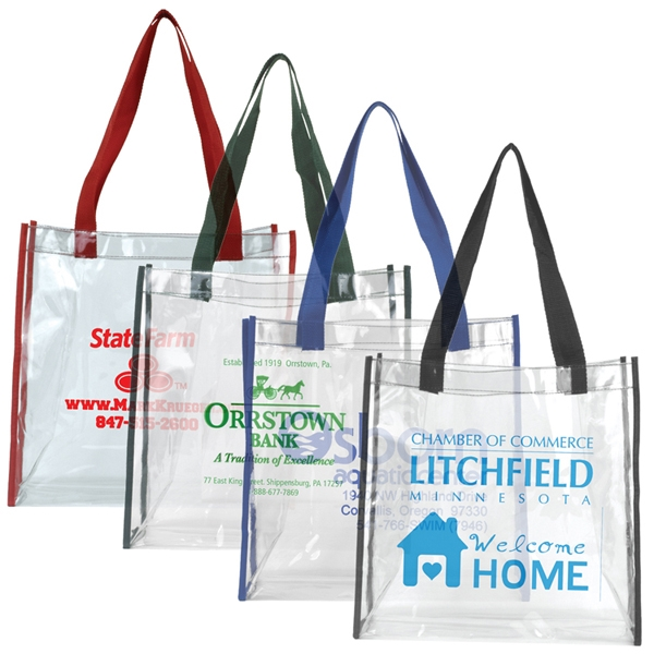 """Matterhorn Clear Vinyl Stadium Compliant Tote Bag - Clear PVC Stadium Tote Bag 6"""" gusset and 20"""" long handles that make it easy to carry with you all day!"""