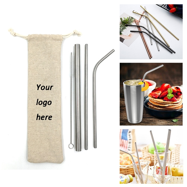 Stainless Steel Drinking Straws Set of 3