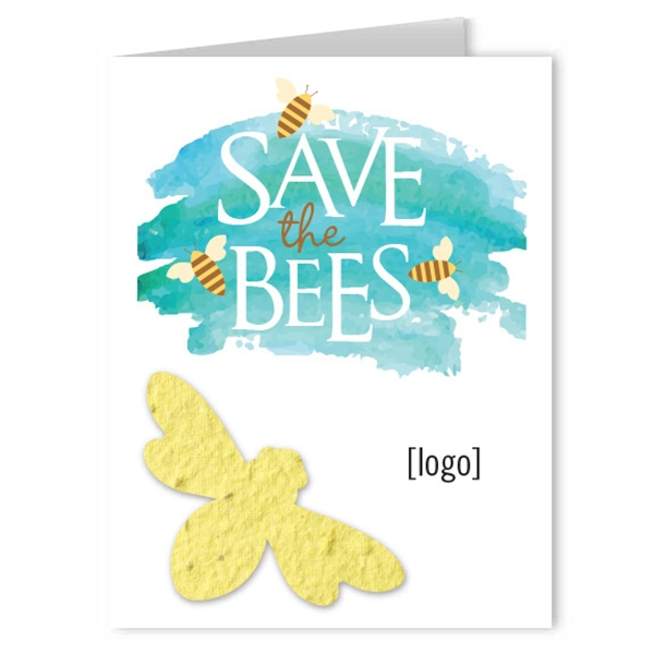 Save The Bees Seed Paper Shape Greeting Card