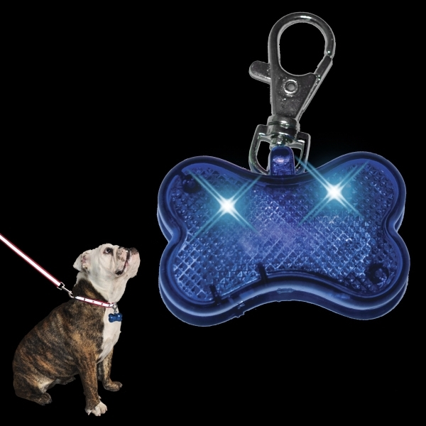 LED Dog Bone Safety Pet Light, Blue
