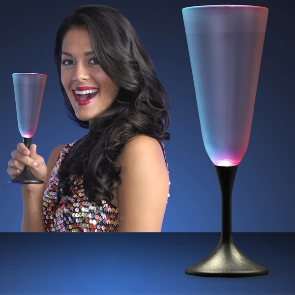 LED Champagne Glass with Classy Black Base
