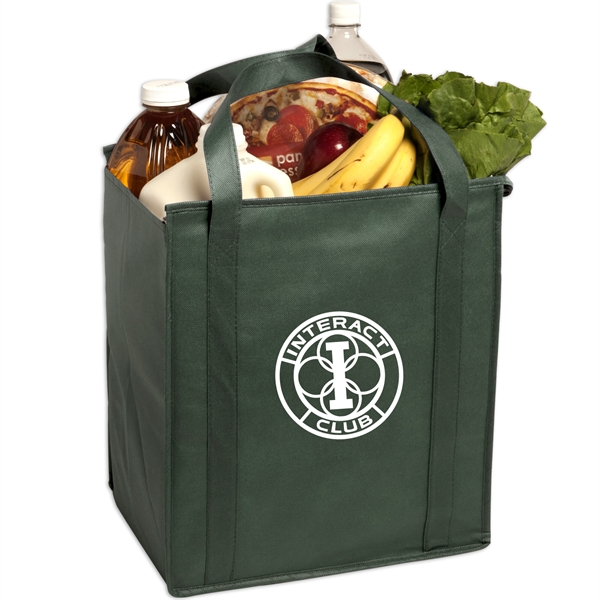 Insulated Large Non-Woven Grocery Tote - Insulated large non-woven grocery tote constructed of non-woven polypropylene.
