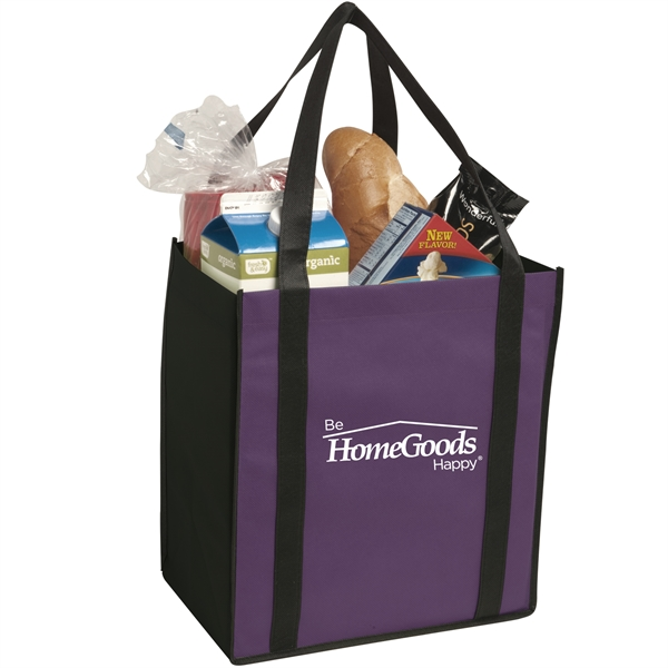 Non-woven two-tone grocery tote - Non-woven two-tone grocery tote constructed of 80 gsm non-woven polypropylene.