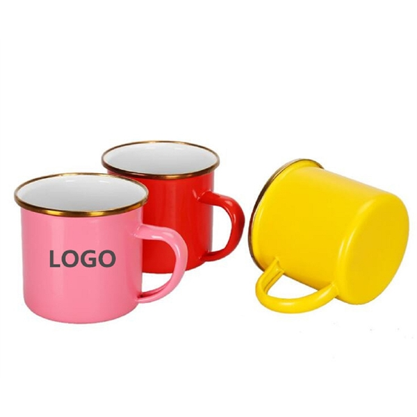 Colored Enamel Mug with Golden Rim