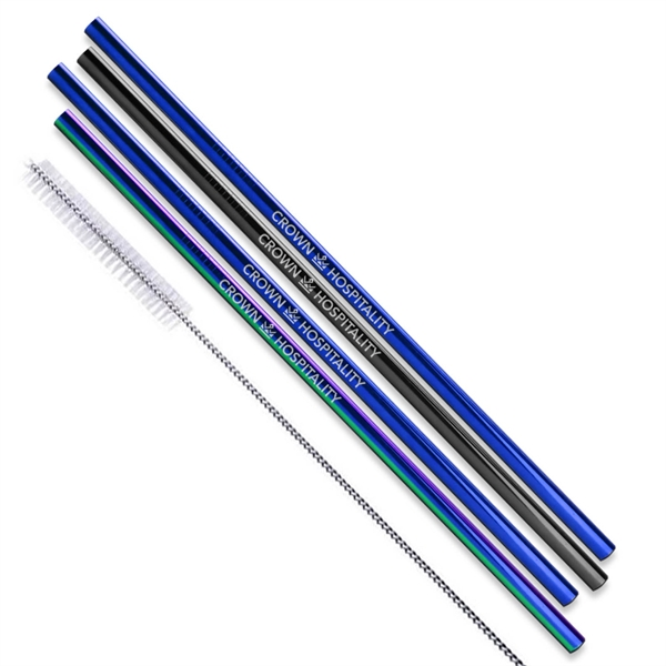 Black, Blue and Rainbow Stainless Steel Straw qty 4