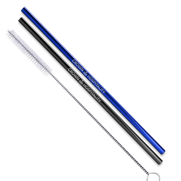 Black, Blue and Rainbow Stainless Steel Straw qty 2