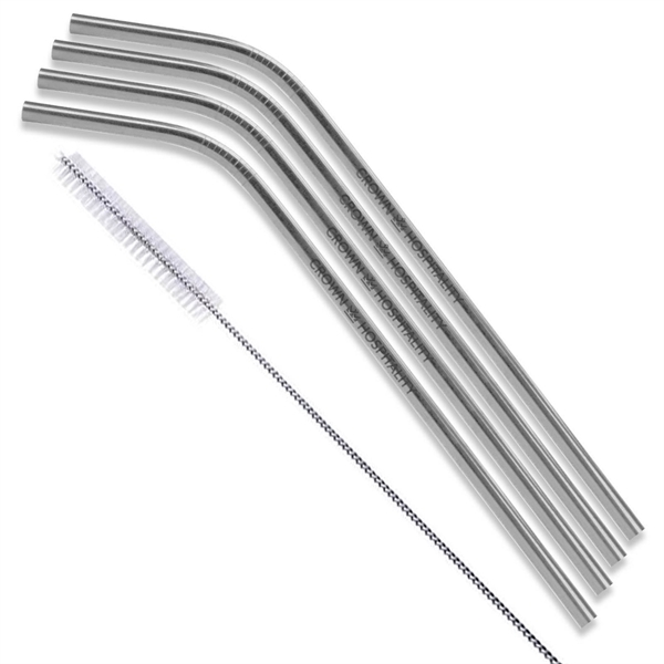 Silver Bent Stainless Steel Straw qty 4