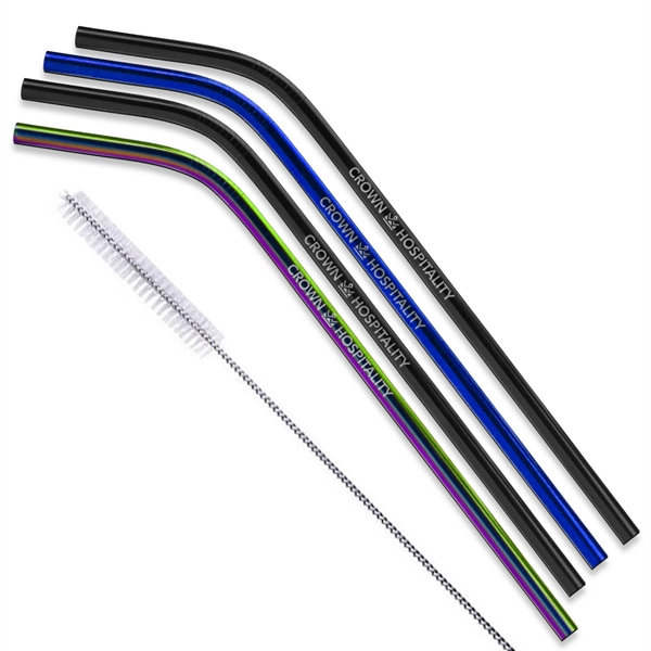 Black, Blue & Rainbow Bent Stainless Steel Straw qty 4