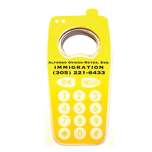 Jumbo size cell phone shape magnetic bottle opener