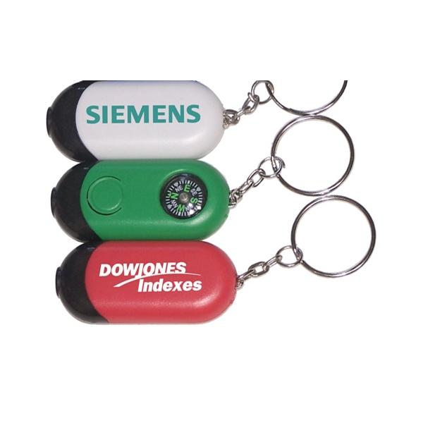 Mini rectangular flashlight with compass key chain