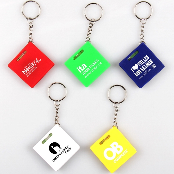 Square tape measure with level key chain
