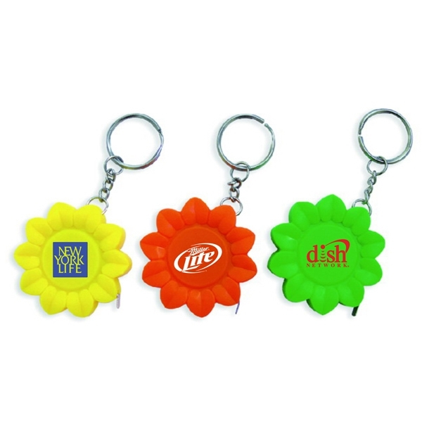 Sunflower shape tape measure key chain