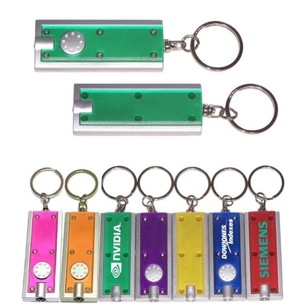 Slim rectangular flashlight swivel keychain