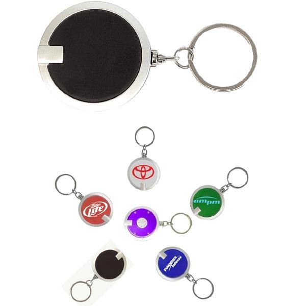 Coaster shape round flashlight key chain